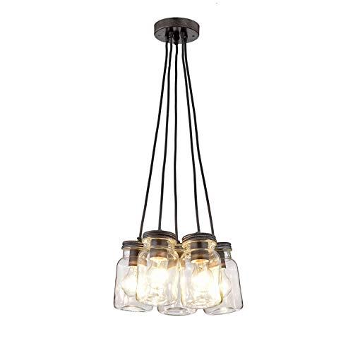 Jojospring Belinda Antique Black Iron/Clear Glass 5-Light Canning Jar Pendant Chandelier
