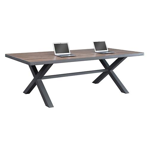 Rivet Conference Table 96''W x 42''D Weathered Oak/Charcoal Painted Steel