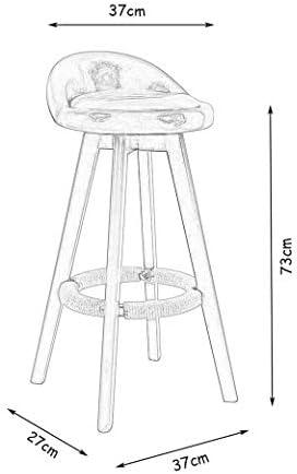 WYYAF Houtstoel Hoge kruk Barkruk Keuken Ontbijt Eetstoel Rugleuning Stoel met Doek Kussens Blauw