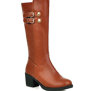 RTRY Women's Shoes PU Leatherette Fall Winter Comfort Novelty Fashion Boots Boots Walking Shoes Chunky Heel Round Toe Mid-Calf Boots Buckle For US8 / EU39 / UK6 / CN39 QzJta7QY