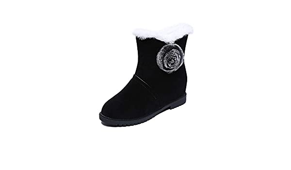 AIMTOPPY Womens Pure Color Lace up Flat Leather Casual Keep Warm Shoes Snow Short Boots