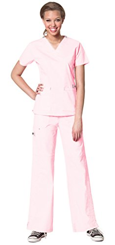 WonderWink Women's WonderFlex Verity V-Neck Top 6108 and WonderFlex Faith Multi Pocket Cargo Pant 5108 Scrub Set (Light Pink - Small / XSmall Petite) (Light Two Bn)