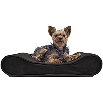 FurHaven Pet Dog Bed | Orthopedic Microvelvet Luxe Lounger Pet Bed for Dogs & Cats, Espresso, Small