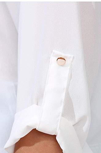 Manica Tops Ragazza V Chic Estivi Donna Shirt Button Lunga Bendare Giovane Elegante Casual Camicie Primaverile Chiffon Unico Stampate Pattern Neck Moda Bluse Moda tq0wSx