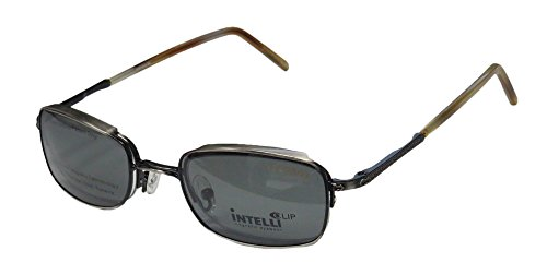 Elite Modern Eyewear Intelli Clip 737 Mens/Womens Designer Half-rim Sunglass Lens Clip-Ons Spring Hinges Eyeglasses/Glasses (48-21-145, Antique Silver/Havana) by Elite Eyewear