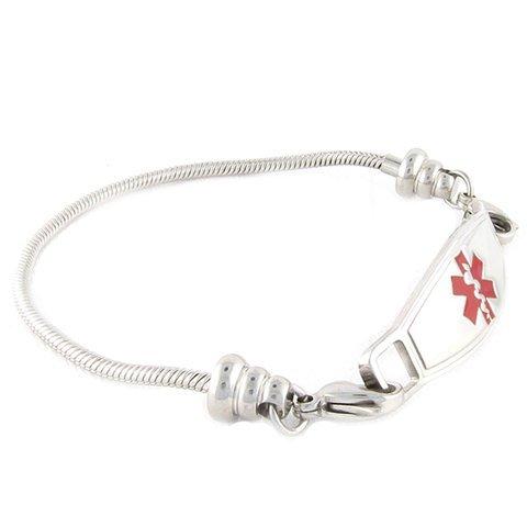 Women s Medical Alert ID Bracelet – Beaded Pan-Dorra Type, Custom Engraving Included – Red, Size 7.25
