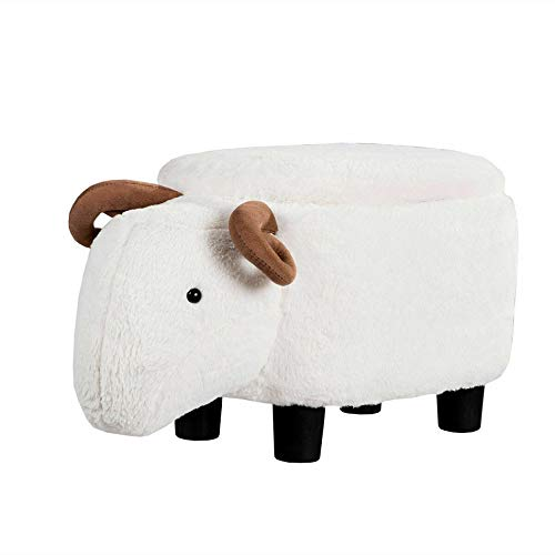TkDirect4 White Sheep Upholstered Ride-on Storage Footrest Stool Vivid Adorable by TkDirect4