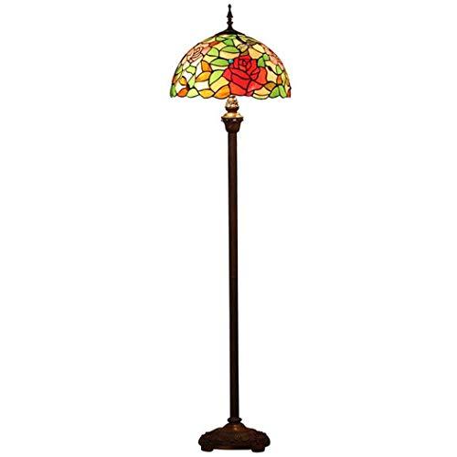 Tiffany Style Floor Lamp, European Dragonfly Design Glass Floor Lamp,Bedroom Living Room Floor Light Creative Housewarming Gift Lamp