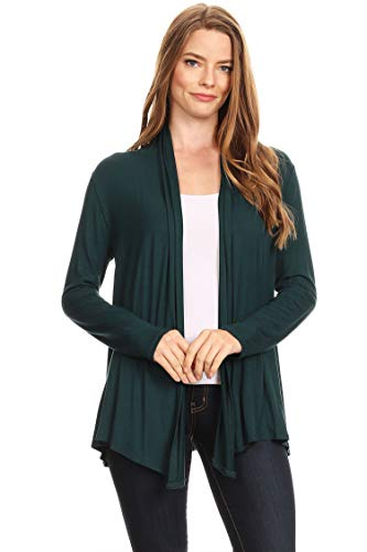 Solid Knit Lightweight Long Sleeve Loose Fit Sweater Cardigan/Made in USA Hunter Green L ()