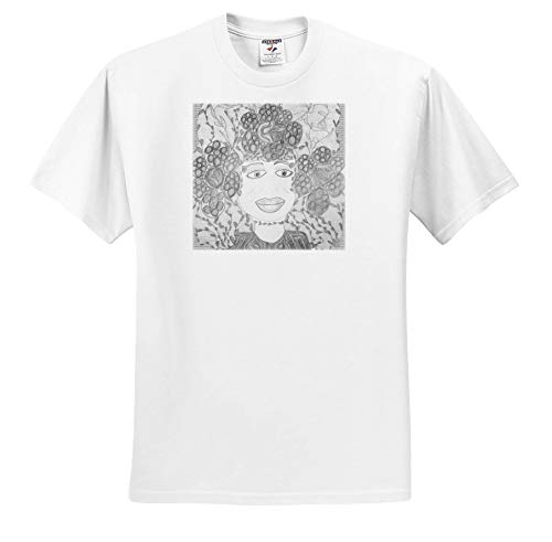 (Jos Fauxtographee- Jos Faux Doll Black and White - an unsaturated Faux Doll Drawing a Girl with Big Hair - T-Shirts - White Infant Lap-Shoulder Tee (6M) (ts_293696_66))