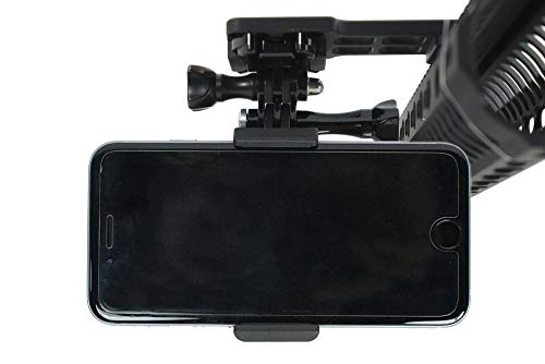 Cantilever Picatinny Gun Rail Mount | Weaver Side Mount + Smartphone Mount for Video Recording. Spring Loaded Smartphone Holder for Gopro Action Camera and All Cell Phones