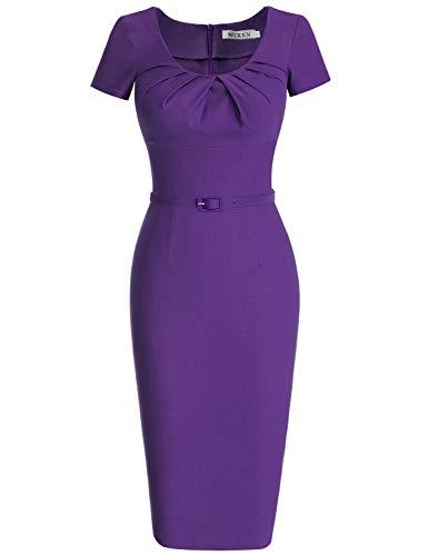 MUXXN Women's 50s 60s Rockabilly Sweetheart Neckline Pure Dress (2XL Violet)