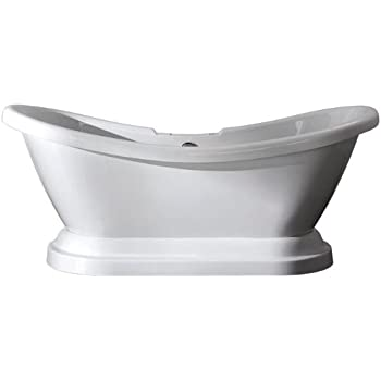 """71"""" Cast Iron Double Ended Slipper Pedestal Tub with 7"""