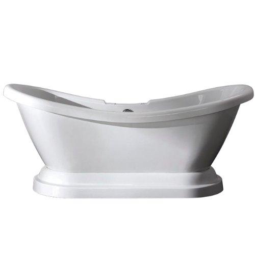 Kingston Brass Aqua Eden VT7DS692828P Contemporary Pedestal Double Slipper Acrylic Bath Tub with 7-Inch Centers Drillings, 69-Inch, White