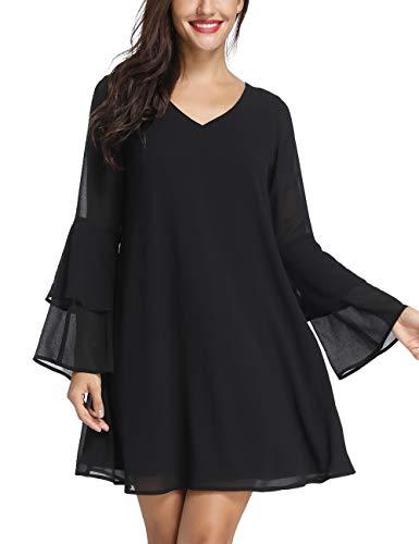 Sweater Belted Maternity - Azalosie Womens Long Sleeve Tunic Dress Summer Chiffon Short Cocktail Casual Evening Dresses Black