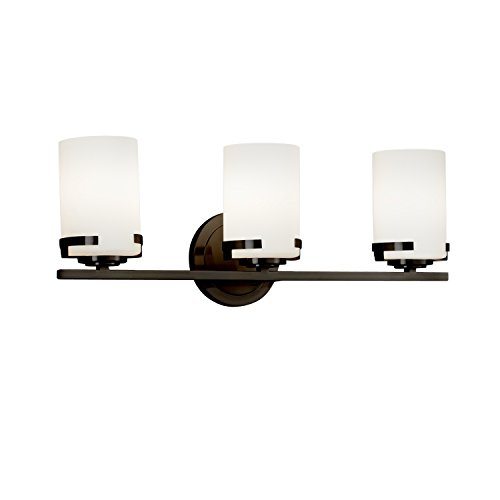 Fusion - Atlas 3-Light Bath Bar - Cylinder with Flat Rim Artisan Glass Shade in Opal - Dark Bronze Finish