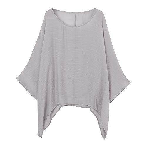 - Misaky Women's Blouse Daily Casual Plus Size Loose Tops Cotton Linen Solid Color Shirt (Gray, XXXXX-Large)
