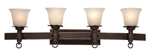 (Four Light Antique Copper Small Piastra Glass Vanity Antique Copper)