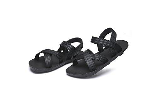 LIVY Masculinos y femeninos par zapatillas marea sandalias de polvo negro de la manera romana sandalias de fondo grueso y zapatillas palabra arrastre Negro