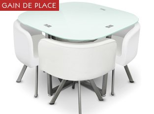Table De Cuisine Gain De Place.Table Damier 4 Chaises Blanc Table De Salle A Manger Gain