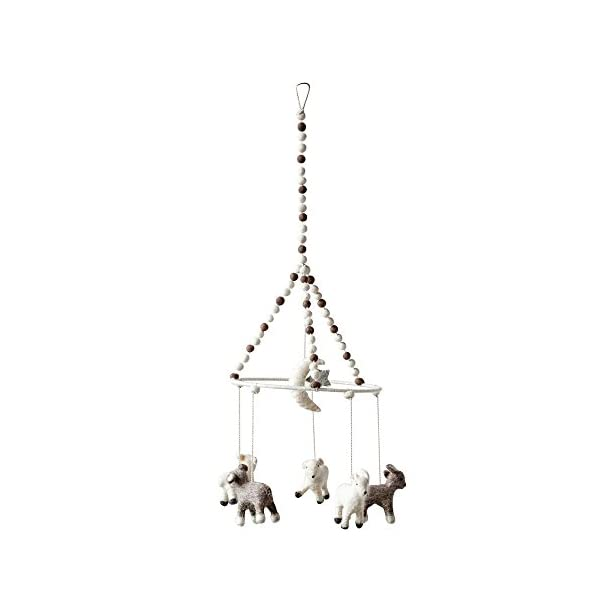 Creative Co-op Wool Felt Baby Lamb Animal Mobile, 8.75″ Round x 24″ H, White/Brown
