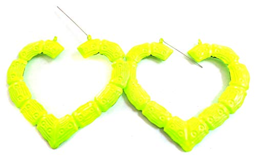 Large Bamboo Heart Neon Yellow Bamboo Hoop Earrings Old School Hoops