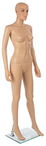 Displays2go Realistic Female Mannequin, Full Body, Includes Glass Base with Calf Rod