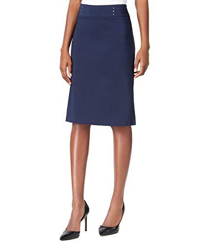 (JM Collection Womens Petites Rivet-Waist Studded Pencil Skirt Navy PM)