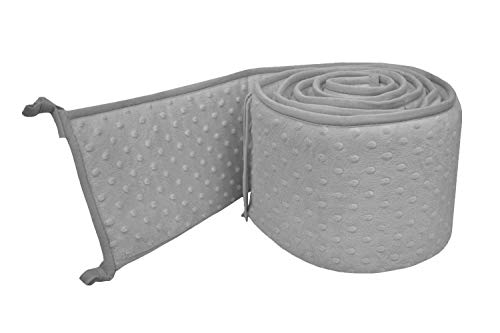 American Baby Company Heavenly Soft Minky Dot Crib Bumper, Grey Puff