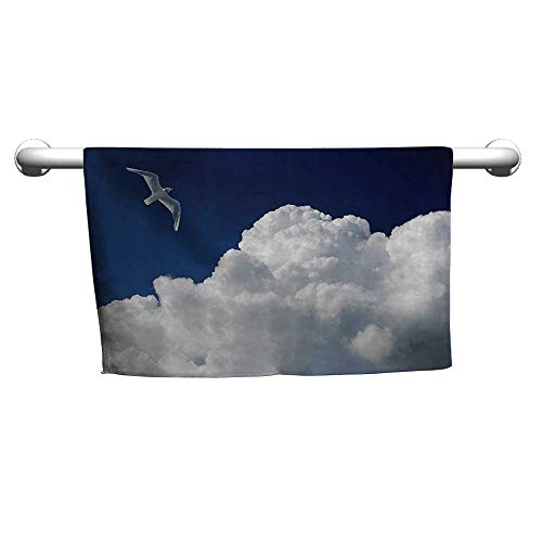 warmfamily Seagulls Decor Collection Quick Dry TowelCloudy Sky and Flying Seagull Sunny Forecast Meteorology Cloudscape Image PrintW14 x L14 Navy Blue White