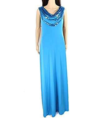Calvin Klein Women's Sequin Draped Neckline Sheath Gown