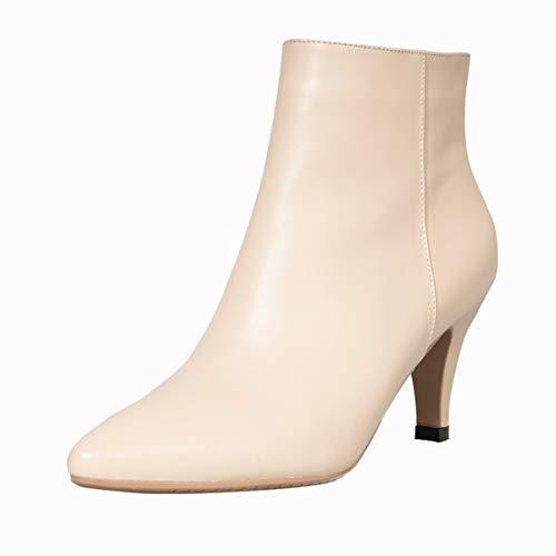 Cortas Invierno Mujer Bien Puntiagudas Zapatos 35 5cm dingxue KOKQSX Color de otoño Tacones MA Cuero Altos con Desnuda 34 Botas color naked qW84tF