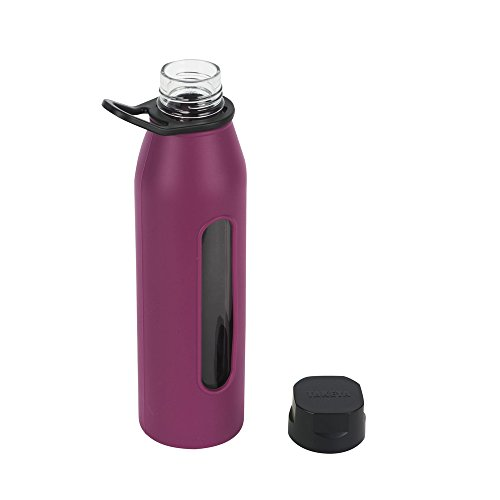 Takeya 22 Ounce Classic Glass Water Bottle with Silicone Sleeve and Twist Cap, Purple
