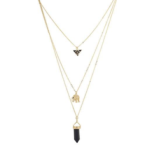 Triple Triangle Gold Pendant Choker Necklace - 8