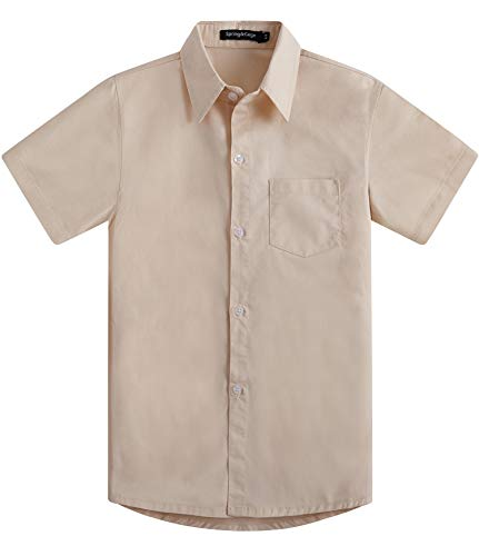 (Spring&Gege Boys' Short Sleeve Solid Formal Cotton Twill Dress Shirts Beige 9-10 Years)