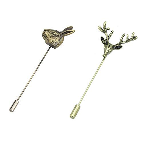AngelShop Men Metal Brooch Pin Vintage Rabbit Deer Head Lapel Stick Pin Brooch Badge 2PCS Rabbit