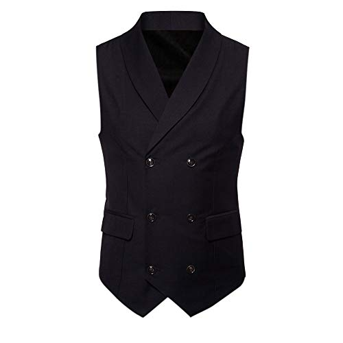 Toimothcn Men Double-Breasted Lapel Business Vest Casual Sleeveless Jacket Coat British Suit Vest (Black1,XXL) ()
