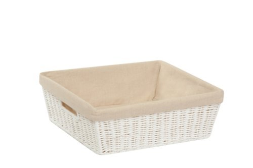 Honey-Can-Do STO-03559 Parchment Cord Basket with Handles and Liner, White, 13 x 15 x 5 inches ()