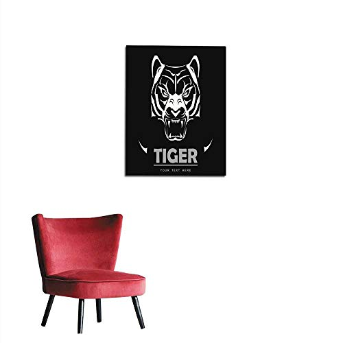 """longbuyer Wall Sticker Decals Great White Tiger Roaring Mural 20""""x24"""""""