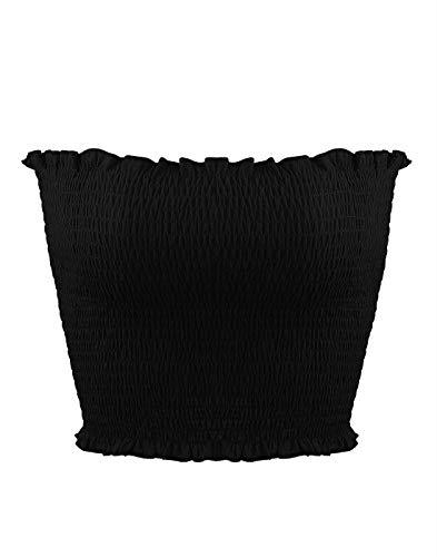 (Ruzishun Women's Sexy Strapless Bandeau Basic Stretchy Pleated Tube Top(Black,M))