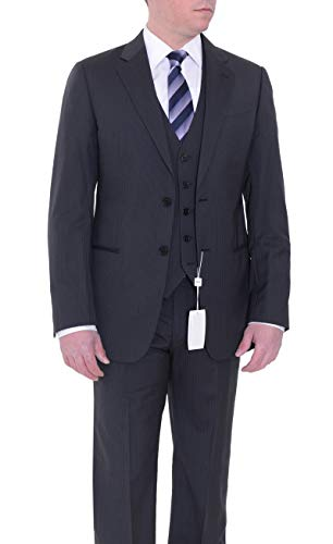 (Armani Collezioni Slim Fit Charcoal Gray Striped Three Piece Wool Suit)