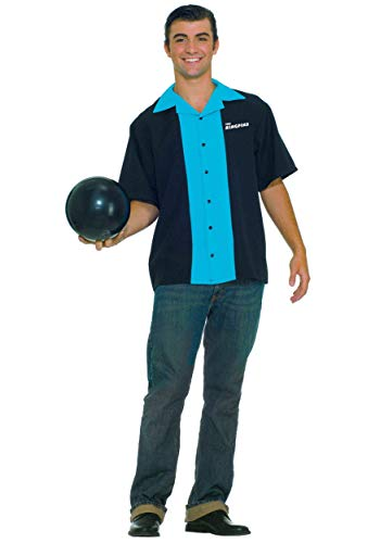 Forum Flirtin With The 50S King Pins Bowling Shirt, Black/Blue, One Size Costume]()