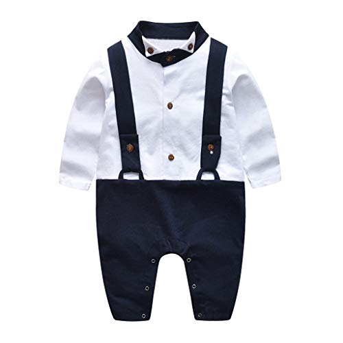 Fenleo ღNewborn Gentleman Romperღ Infant Baby Boys Short Sleeve Bodysuit Clothes for 0~24m]()