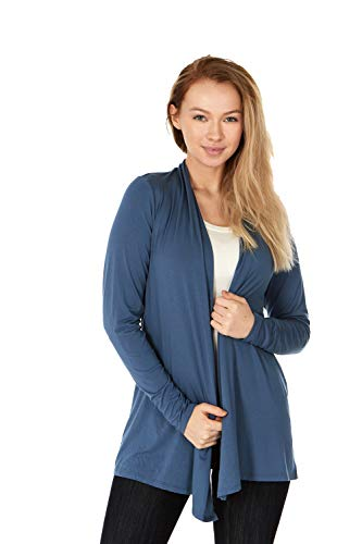 (X America Long Sleeve Knit Open Front Cardigans for Women, Junior and Plus Size (XL, Denim))