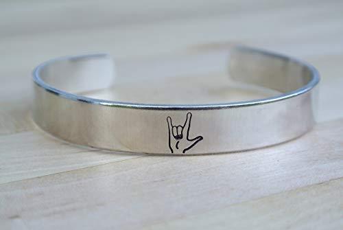I Love You Bracelet, ASL Bracelet, ASL Jewelry, American Sign Language Gift, Interpreter Gift]()