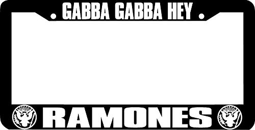 Ramones Metal (Gabba Gabba Hey Ramones License Plate Frame Tag, Aluminum Metal Car License Plate Cover Holder for Front or Back License Tag, 2 Holes with Screws)