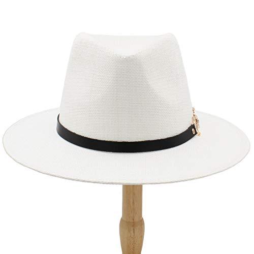 MUMUWU Men's Plain Color Panama Straw Hats Fedora Soft Vogue Stingy Brim Caps 6 Colors Choose 58 cm (Color : White, Size : 56-58cm)