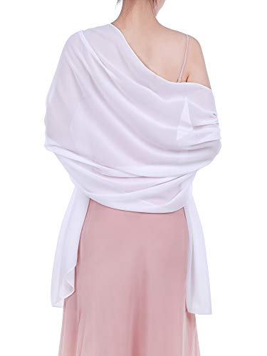 WILLBOND Womens Chiffon Bridal Evening Soft Wrap Scarf Shawl, Chiffon Scarf Ribbon Scarf for Women and Girls (White)