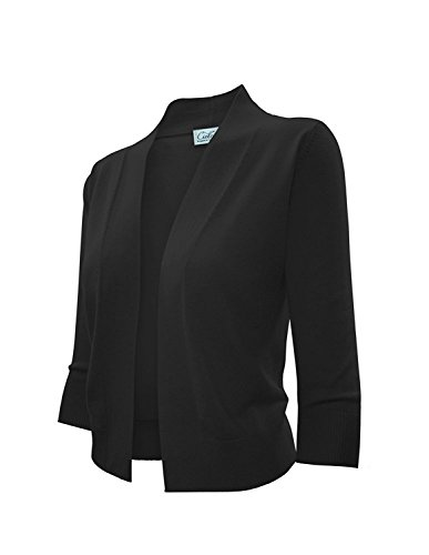 CIELO Solid Soft Stretch Open Front Knit Bolero Shrug Cardigan (620 BK M)