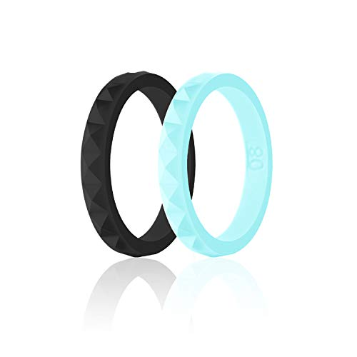 SANXIULY Womens Silicone Ring&Rubber Wedding Bands for Workout and Sports Width 3mm Pack of 2 Size 4